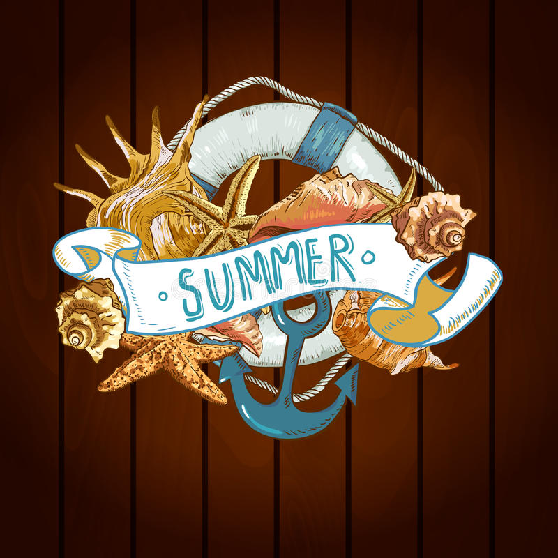Free Summer Card With Sea Shells, Anchor, Lifeline Royalty Free Stock Photos - 41881478
