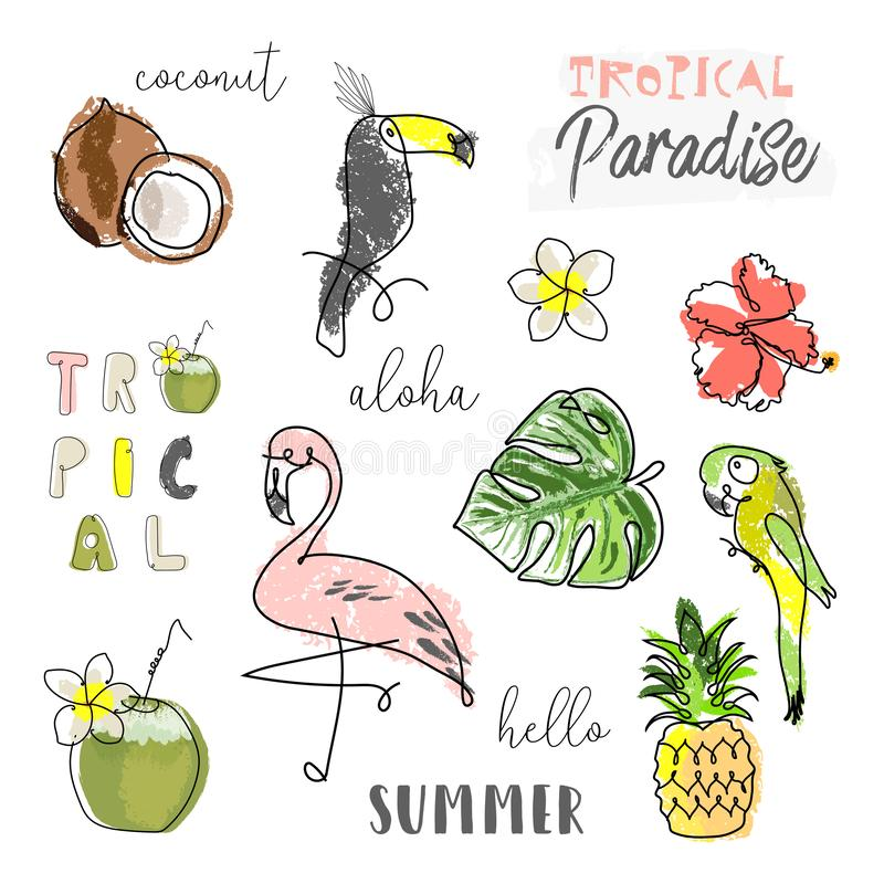 Tropical seamless pattern with cute hand drawn doodle animals stock image