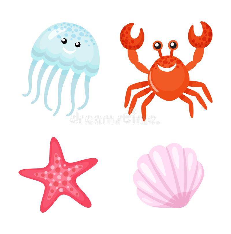 Summer Character, Red Crab and Jellyfish Starfish stock illustration