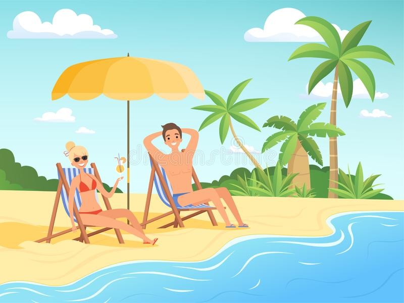 Summer characters. Male and female person have a rest on the beach cartoon seaside background summer vacation vector. Illustration of girl and boy on seaside royalty free illustration