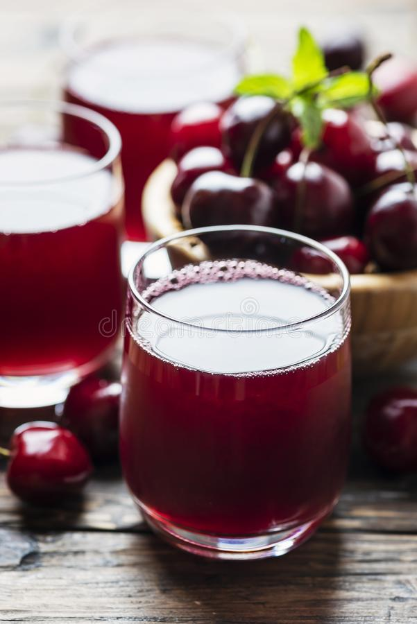 Summer cherry juice stock photography