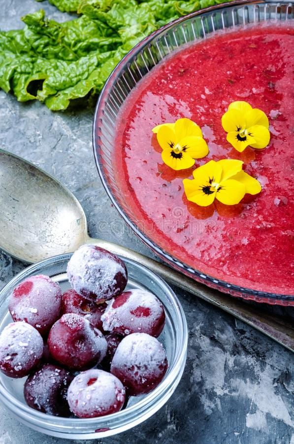 Summer cherry soup royalty free stock image
