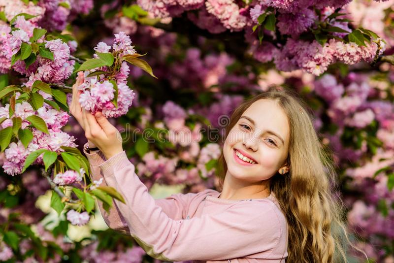 Summer. Childhood beauty. skincare spa. Natural cosmetics for skin. blossom smell, allergy. small girl child in spring stock image