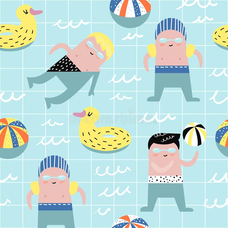 Summer Childish Seamless Pattern with Cute Boys in Swimming Pool. Creative Kids Background for Fabric, Textile stock illustration