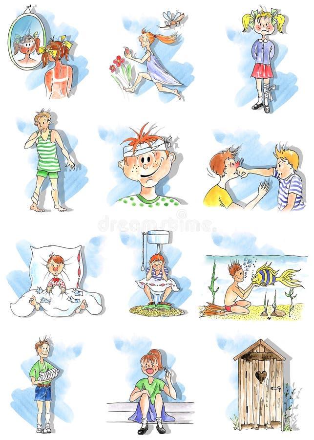 Download Summer children troubles stock illustration. Illustration of purging - 3519780