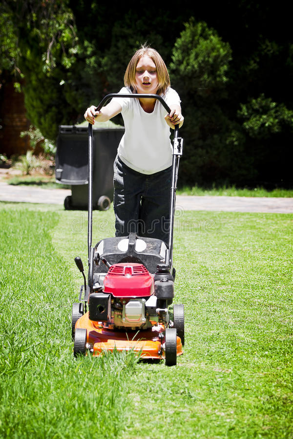 Download Summer Chores - Mowing Lawn Stock Image - Image: 22480349