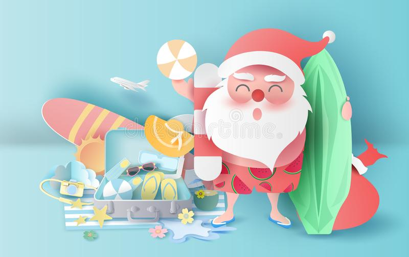 Summer Christmas season with suitcase concept.Santa Claus smile wearing beach suit travel swimming decoration.Holiday and vacation. For Equipment playing relax stock illustration
