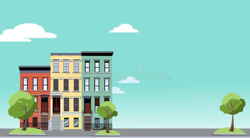 Summer in the city. Horizontal background with colorful cityscape with cozy green trees near two-storied houses. Banner with free stock illustration