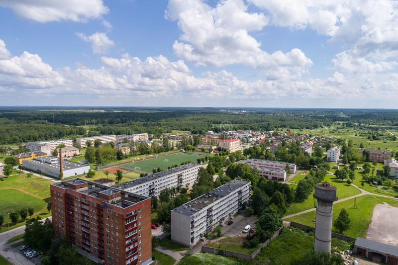 Aerial photography. Small city landscape, amazing clouds. stock photography
