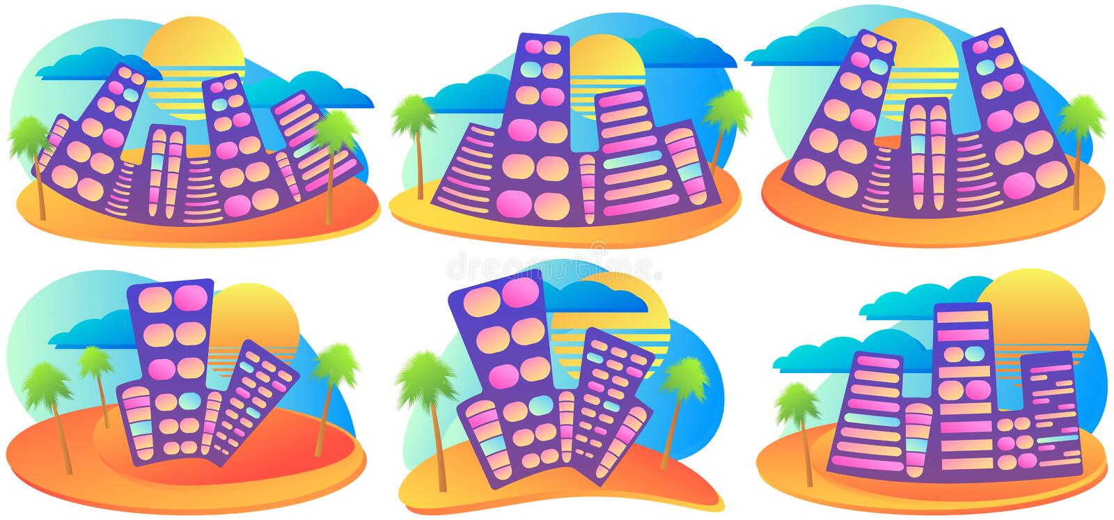 Summer city with palm and sun. Fluid gradient design banner set. Resort with sandy beach. Vector stock illustration