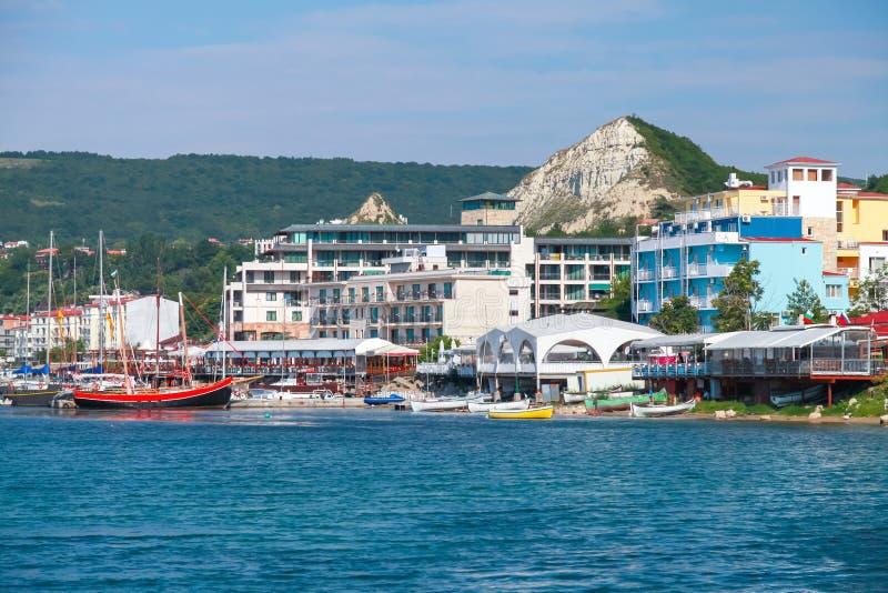 Summer cityscape of Balchik resort town. Coast of Black Sea, Varna region, Bulgaria royalty free stock images