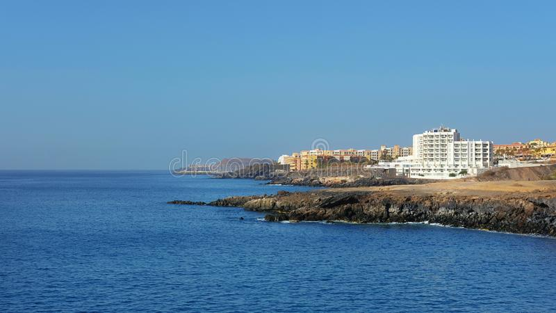 Summer, clear vistas towards San Blas and Golf del Sur, popular southern resorts in Tenerife, Canary Islands, Spain royalty free stock photo