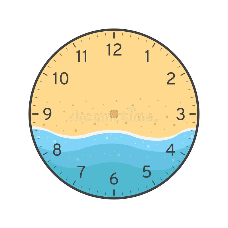 Summer clock face template with sea and beach stock illustration