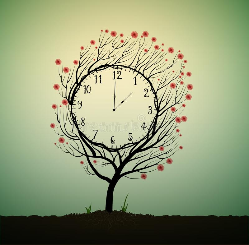 Summer clock, time to blossom, tree looks like clock with red flowers, royalty free illustration