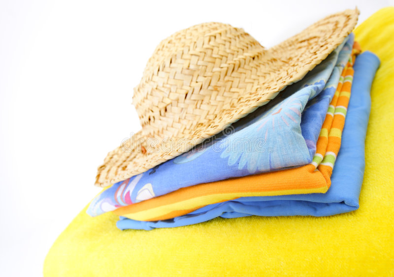 Summer clothes. Summer beach clothes stock photo