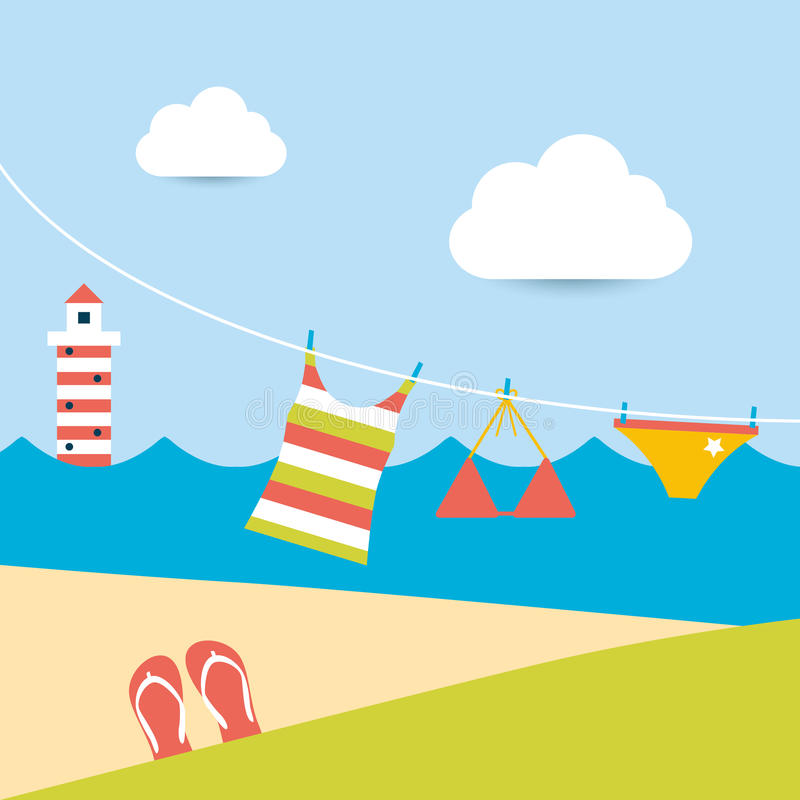 Summer Clothes Hanging On The Washing Line. Stock Vector ...