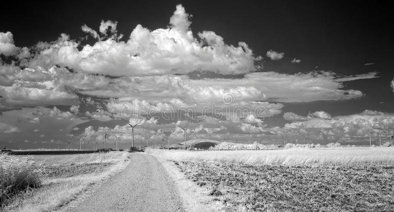 Summer clouds over fields. In infrared light royalty free stock photography