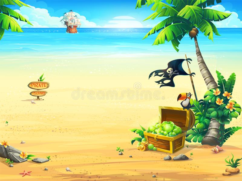 Summer coast with a chest, parrot, palm tree, pirate ship. Ocean coast with a chest, parrot, palm tree, pirate ship. Creative design for print summer cards stock illustration
