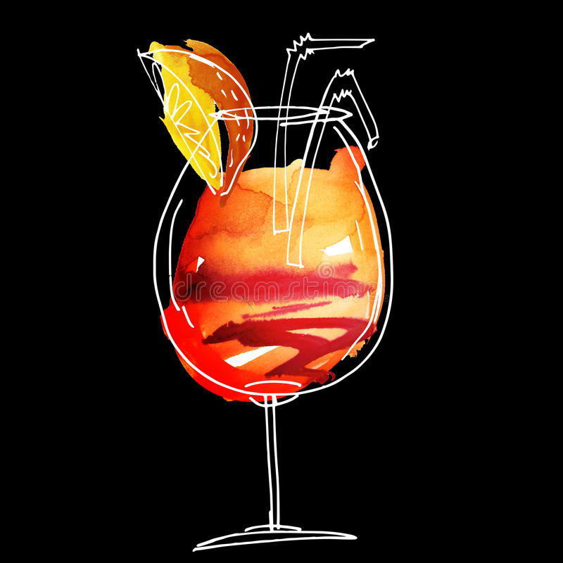 summer cocktail hand drawn il royalty free illustration