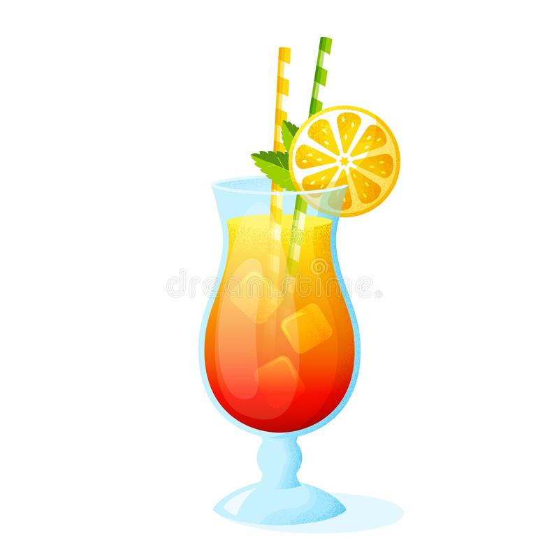 Summer cocktail isolated on white background. Vector stock illustration