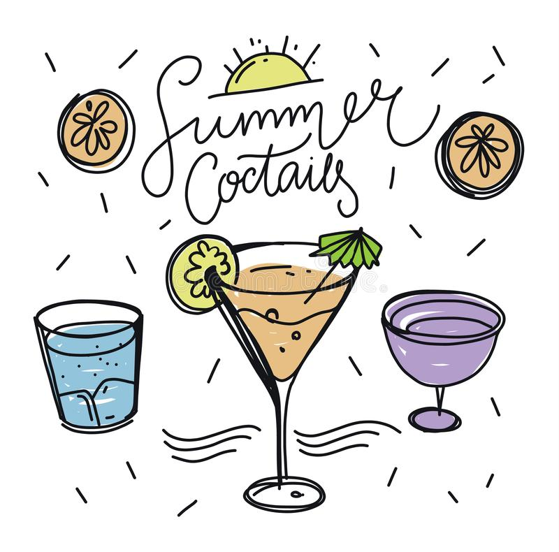 Summer Cocktail Party hand drawn vector illustration doodle isolated. vector illustration