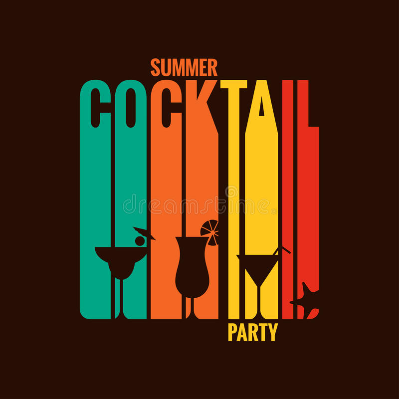 Summer cocktail party menu design background stock illustration