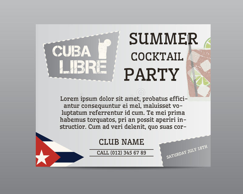 Summer cocktail party poster layout template with. Cuba flag and Cuba Libre cocktail. Fresh Modern ice design for cocktail bar or restaurant. Isolated on grey stock illustration