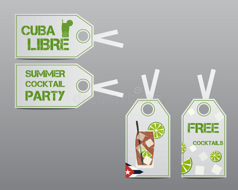 Summer cocktail party stickers and labels layout. Template with Cuba flag and Cuba Libre cocktail. Fresh Modern ice design for cocktail bar. Isolated on grey royalty free illustration