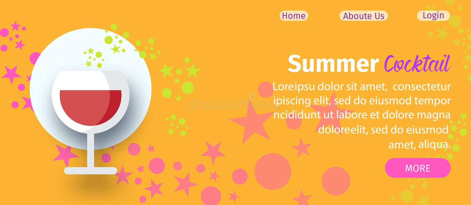 Summer Cocktail Party Website Flat Vector Template vector illustration