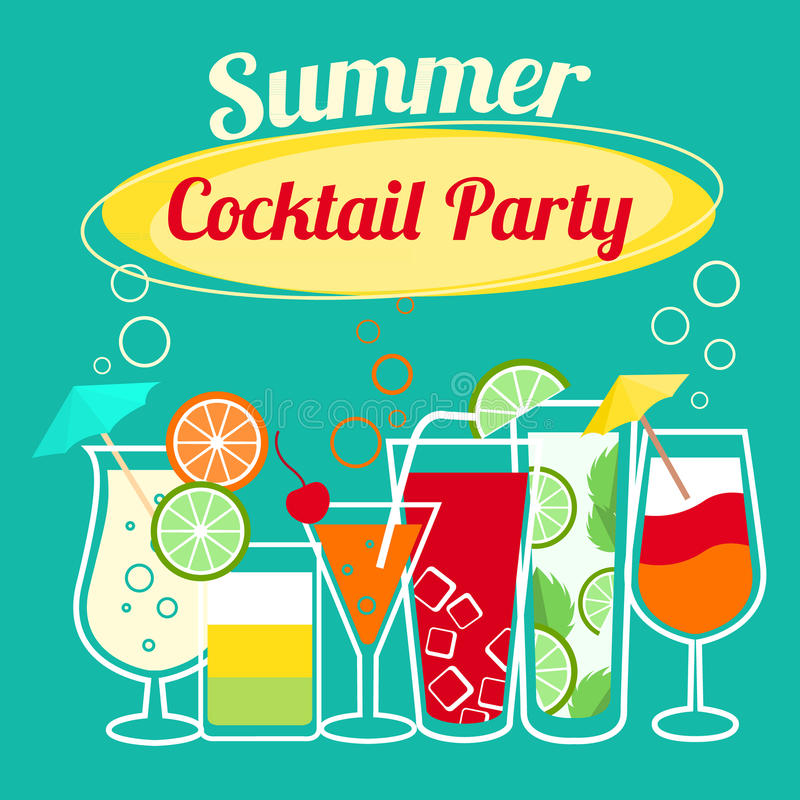 Summer cocktails party template vector illustration