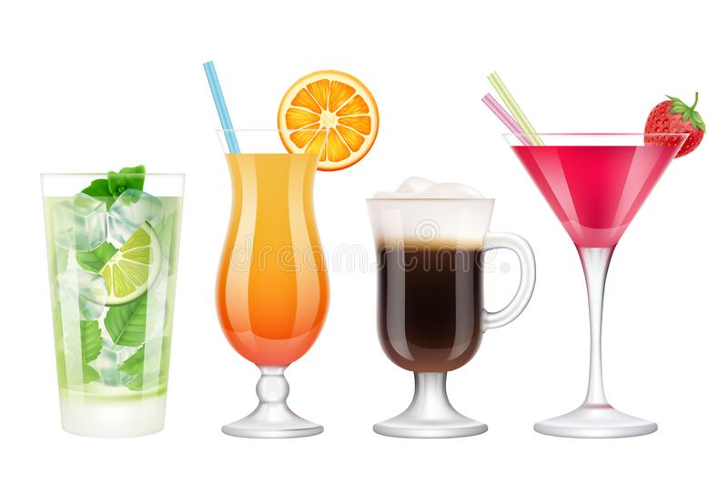 Summer cocktails realistic. Alcoholic drinks in glasses with ice tropical fruits irish coffee vodka margarita mojito. Colored vector. Acohol drink mojito royalty free illustration