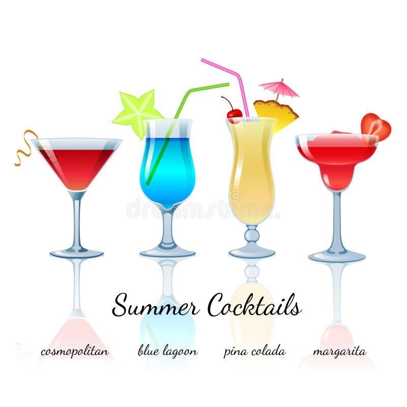 Summer cocktails set, isolated. Summer cocktails set (isolated): Cosmopolitan, Blue lagoon, Pina colada, Margarita stock illustration