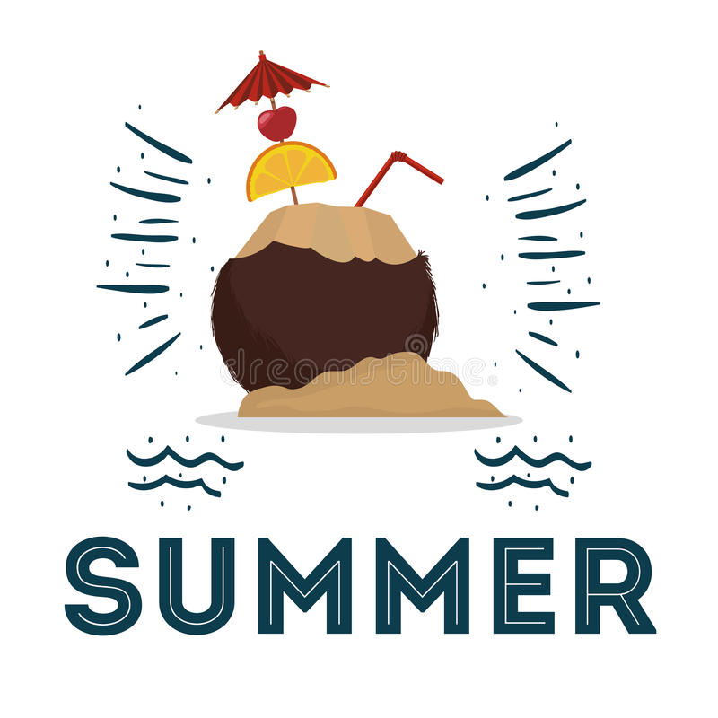 summer coconut cocktail poster design stock illustration