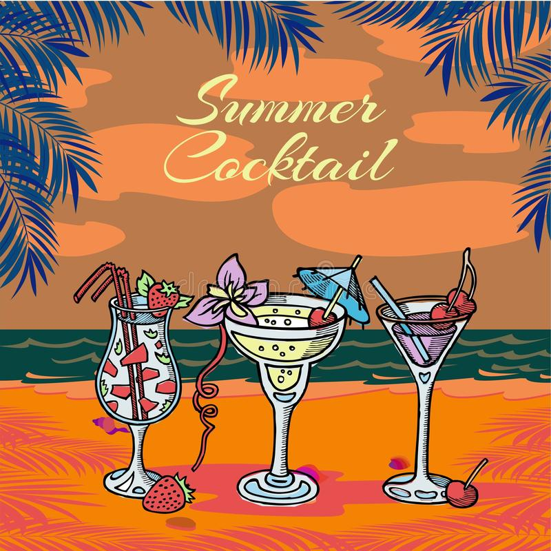Summer coctail party vector illustration. Tropical palm leaves and sea, slice of watermelon, cherry and umbrellas in vector illustration