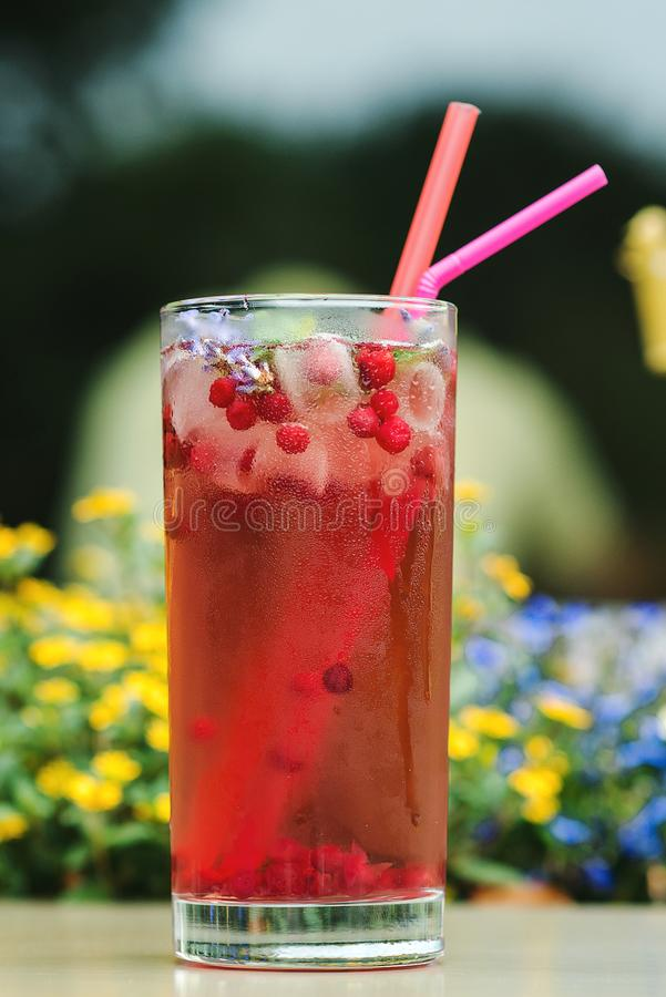 Summer cold drink outdoor. Red freshment drink with cowberry and fresh lavender at cafe terrace. Water detox with cowberry. royalty free stock images
