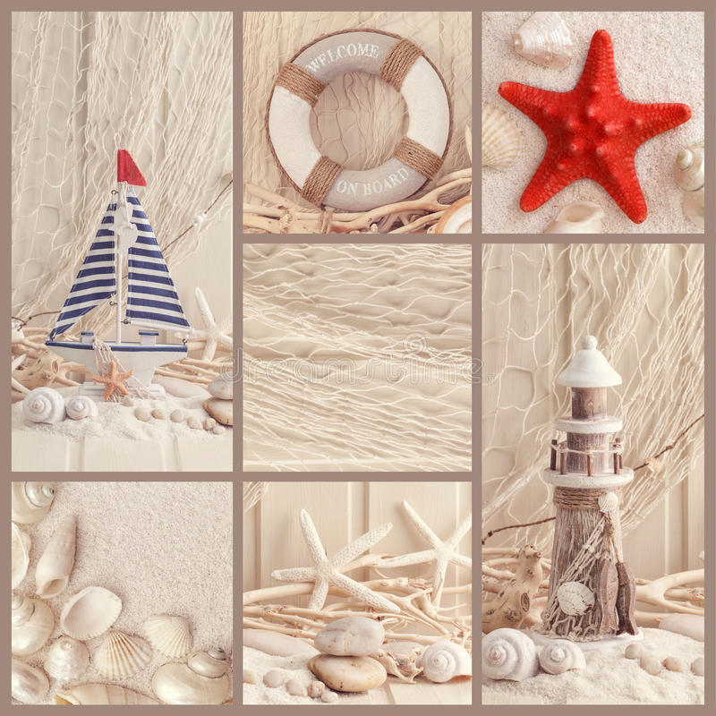 Summer collage. Collage of summer sea decoration stock photography