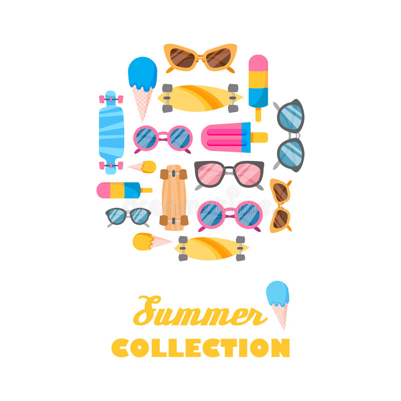Summer collection of objects stock illustration