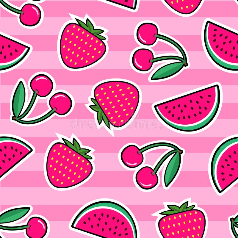 Summer colorful bright seamless pattern with patches of red strawberry, cherry, watermelon on pink background. stock illustration