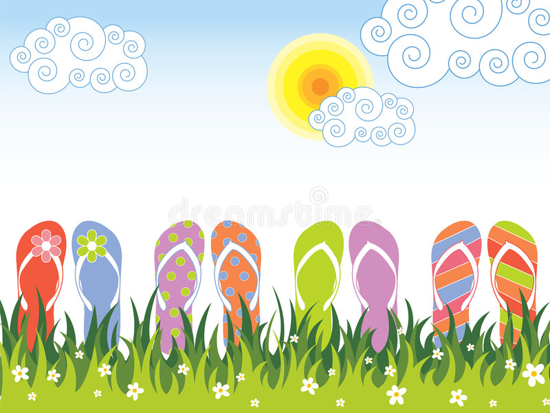 Summer colorful flip flops in the grass stock illustration