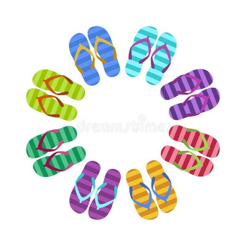 Summer colorful flops in circle, flat illustration royalty free illustration