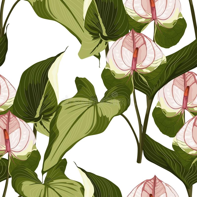 Free Summer Colorful Hawaiian Seamless Pattern With Tropical Plants And Spathiphyllum Flowers. Stock Photo - 159634180