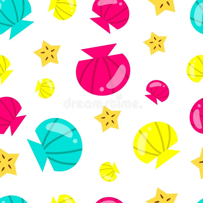 Summer colorful pattern. Summer background with seashells, starfish and white background. Cute vector vacation and sea background.  royalty free illustration