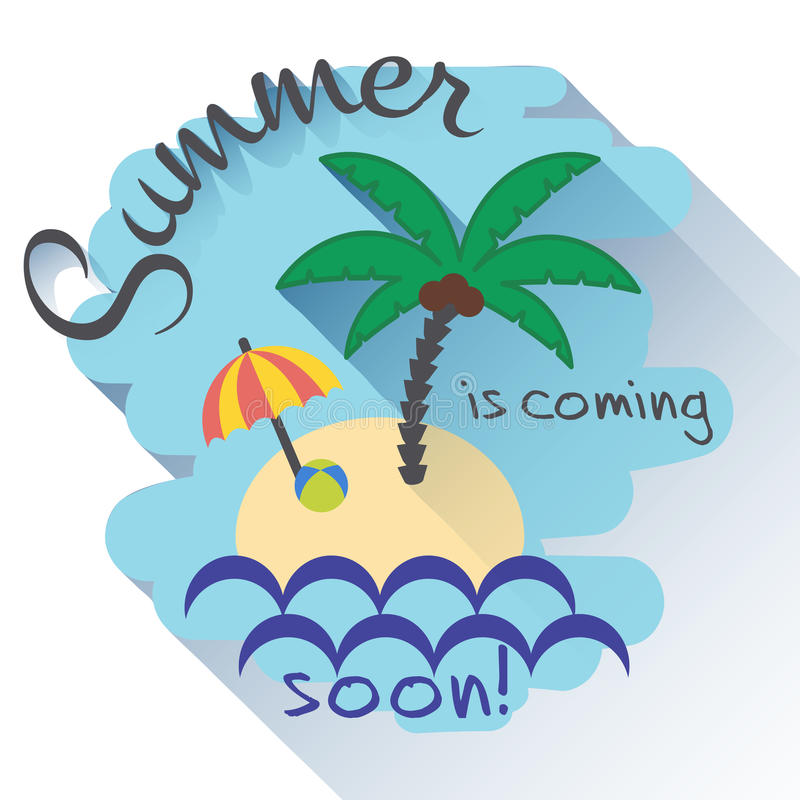 Download Summer Is Coming Flat Card Stock Vector. Illustration Of Nature    68623703