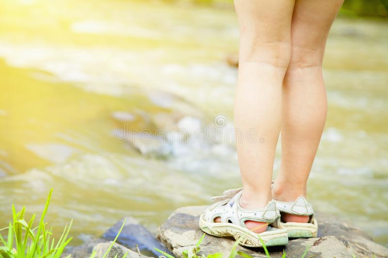 Summer is coming. Little cute child girl  relaxing in nature at the lake. Summer is coming. Little cute child girl relaxing in nature at the lake stock image