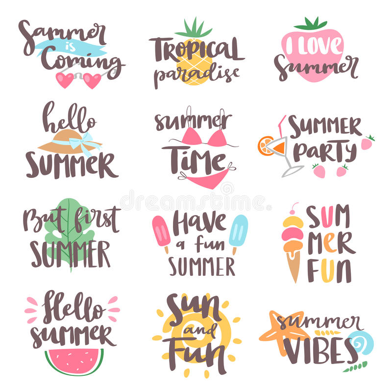 Summer coming time lettering text typography art hand drawn nature vacation travel quote phrases vector illustration royalty free illustration