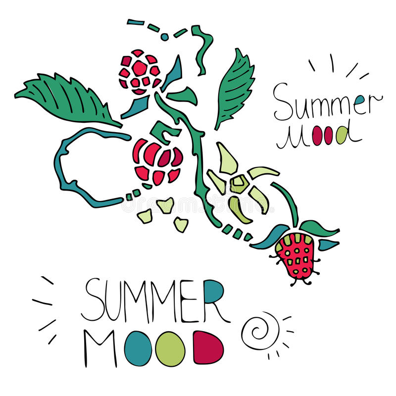 Summer composition with raspberries on white background stock photo