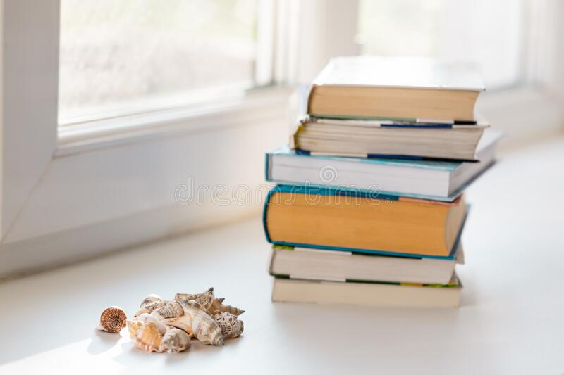 Summer composition with stack of books and seashells. Summer season concept, copy space, selective focus.  stock photo