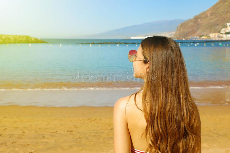 Summer concept. Back view of young woman with long hair and sunglasses with beach on background at sunset. Copy space.  stock photography