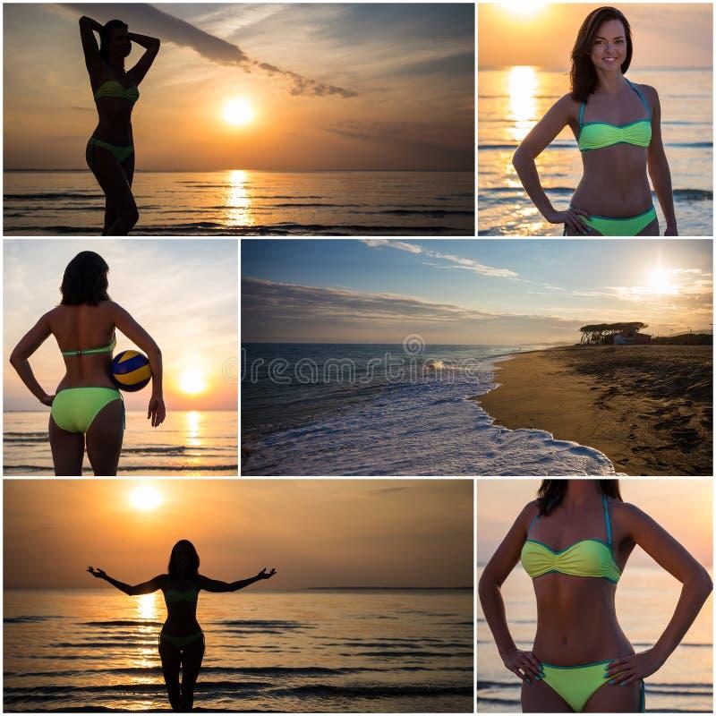 Silhouette Of Slim Girl In Bikini Walking On The Beach