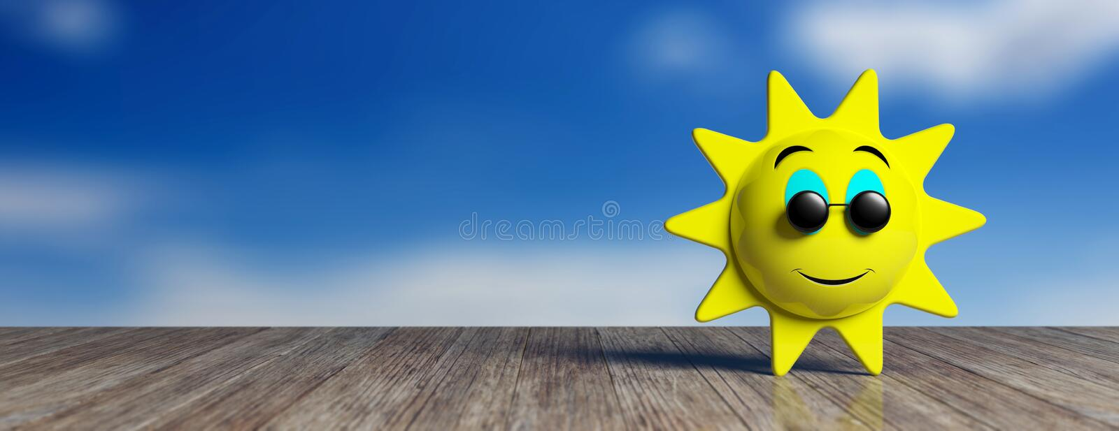 Emoji sun yellow with black round sunglasses smiling, on a wooden dock and sky background, banner. 3d illustration. Summer concept. Emoji sun yellow with black royalty free illustration